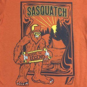 Sasquatch T-shirt Believe the Legend Orange Tshirt